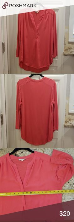 Pleione 3/4 sleeve blouse EUC Coral mixed media blouse.  Sleeves are 3/4 and can be rolled and buttoned to a half sleeve.  Front is rayon and the back is a rayon and spandex knit. Pleione Tops Blouses