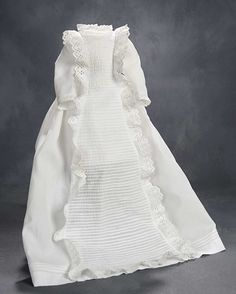 """""""What Finespun Threads"""" - Antique Doll Costumes, 1840-1925 - March 12, 2017: 202 White Cotton Bebe Gown"""
