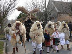Mohács (pr. Moch-atsh), Hungary - Busó festivities (Busójárás) The 6-day winter chasing carnival of  Busós. People wearing wooden masks and woolly cloaks. It's fun for everyone.