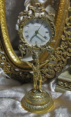 Vintage Clock Gold Cherub Signed by TheEclecticDiva on Etsy, $75.00