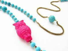 Owl necklace pink statement necklace vintage by soradesigns, $44.50