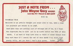 Clowns terrify me, so this John Wayne Gacy personalized notecard disturbs me on many levels.