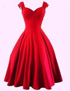 Grandes Tailles / Trapèze Robe Aux femmes Soirée / Cocktail Sexy / Vintage,Couleur Pleine Coeur Mi-long Sans Manches Rouge / NoirCoton / de 4026306 2016 à €22.53