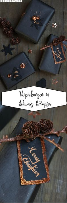 Geschenke verpacken in schwarz und kupfer