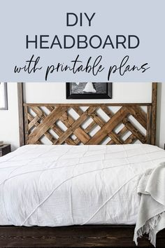 DIY Headboard in 7 Simple Steps - Make a unique wood headboard this weekend using this step-by-step tutorial. Free printable plans available to make this DIY headboard as easy as possible. Diy Furniture Decor, Diy Furniture Plans Wood Projects, Furniture Storage, Furniture Arrangement, Pallet Furniture, Furniture Makeover, Garden Furniture, Antique Furniture, Woodworking Projects