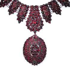 Victorian Bohemian Garnet Necklace With Pendant/Brooch/Locket Mounted In Gilded Metal   c.19th Century
