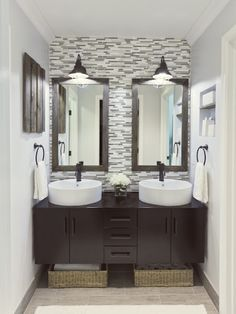 love this bathroom sink and back splash idea....complete with the industrial looking light fixtures