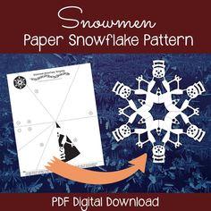 Snowmen paper snowflake pattern - download the PDF, print, cut & unfold!