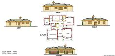 Samples of our House Plans 5 Bedroom House Plans, Free House Plans, Bungalow House Plans, Family House Plans, Country House Design, Modern House Design, Single Storey House Plans, House Plans South Africa, Duplex Floor Plans