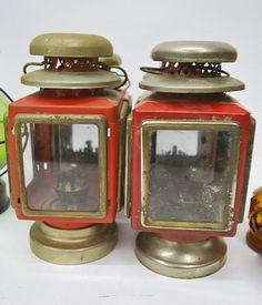 Vintage Red Oil Lamps    Set Of Four   Antique, Rustic, Primitive Decoration