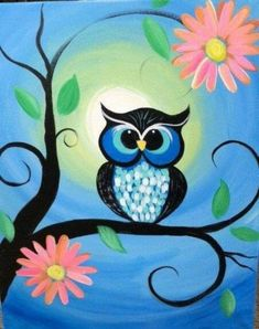Learn Drawing Whimsical Owl Painting by eracindym on Etsy - This canvas painting depicts a brightly colored owl sitting on a tree branch with pink Canvas Painting Projects, Easy Canvas Painting, Diy Painting, Painting & Drawing, Art Projects, Painting Flowers, Painting Abstract, Simple Projects, Acrylic Flowers