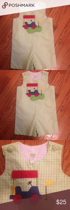 One-piece boutique outfit Great condition. Only worn twice. Size 4T. Light green and white checkered with cute 3D golf cart details. One Pieces