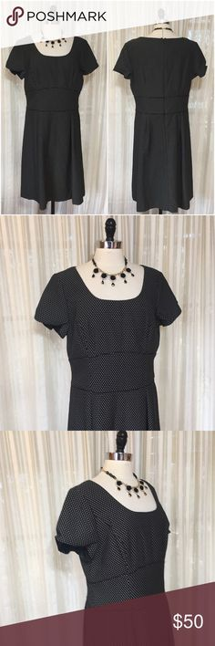 💜Talbots black white cap sleeve polkadot dress Size 16. Rear zipper. Lined. Polyester, cotton. NWT $138  💟Fast 1-2 day shipping 💟Reasonable offers accepted 💟Purchase 3 or more items & get a special bundle rate!  💟Smoke-free home Talbots Dresses