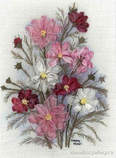 Cosmos flowers #ribbonEmbroidery