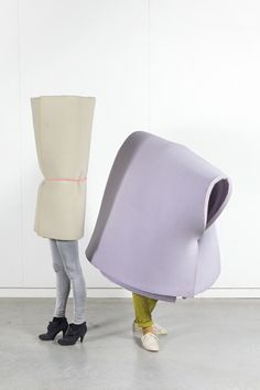 These oversized, misshapen, foamy straightjacket bundles were made by Eindhoven-based duo Raw Color for design collective Dutch Invertuals. In a sweet range of minty pastels they look like they should provide a comfy bed, but wrapped around a head they're more likely to suffocate.