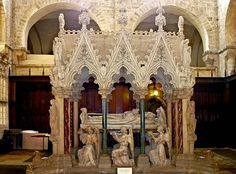 Tomb of Bishop Wilberforce, the third son of the famous abolitionist William Wilberforce. Armstead (sculptor, and Sir George Gilbert Scott (architect). Various materials, including alabaster. William Wilberforce, Famous Historical Figures, Old Cemeteries, Effigy, Grand Hotel, Victorian Gothic, Monuments, Winchester, Barcelona Cathedral