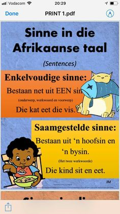 Afrikaans Language, Afrikaanse Quotes, Math Work, Teaching Aids, Worksheets For Kids, Travel Quotes, Success Quotes, Kids Learning, Sentences