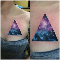 """Thanks for getting this fun galaxy triangle Miloe!  Also, it's a cover up.✨✌️ I wanna do more space shapes! #blackcobratattoos"""