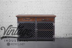 This piece is completely customizable  Dimensions: 51 W x 26.5 D x 34 T  Weight: 300 lbs approximately  One fixed height internal shelfon the right side  Other hardwoods available like worn oak, reclaimed boxcar oak, cherry & mahogany  Handmade structural steel construction with a natural finish  Built to lastlifetime and then some  Optionally available as a media console with holes for wiring