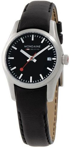 Mondaine is well known for its Swiss Watch quality and Swiss Designs. The Mondaine SBB Line of Swiss Watches and Clocks are based on the original design of the Swiss Railways Clock of Swiss Railway Clock, Swiss Design, Retro Watches, The Chic, Stainless Steel Case, Buy And Sell, Black Leather, Wedding Rings, Jewels