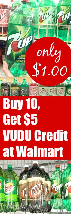 Buy ten 2-liters or five 0.5L 6-packs of A&W®, 7up®, Canada Dry®, Sunkist®, Sundrop®, RC Cola®, Squirt™ for only $1.00 each at Walmart and get a $5 VUDU credit during the month of December. Such a great Christmas deal!!! http://freebies4mom.com/punch/ ad