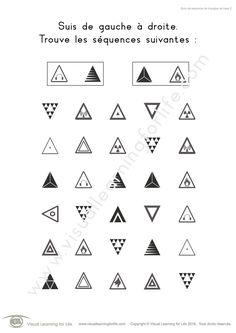 Dans les fiches de travail « Suivi de séquence de triangles de base » l'élève doit trouver les mêmes séquences de triangles que dans les exemple en haut de la page.