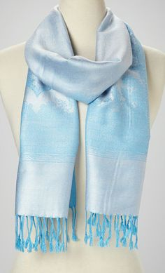 Sky Little Paris Cashmere-Silk Blend Scarf