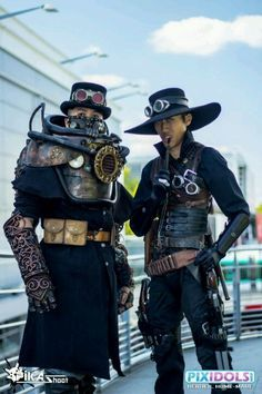 I like the upper body on the left for a steampunk heavy knight or something, but not the arm. I've never seen a mechanical arm that I like. I love the hat on the right, too. Refreshing change from the typical top hat.