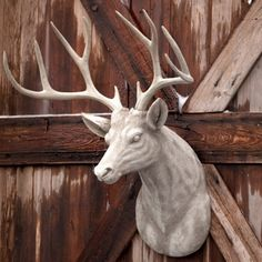 Our HUGE Estate Stone Deer Head Mount is a true statement maker. See more deer head decor at Antique Farmhouse! Farmhouse Wall Decor, Farmhouse Style Decorating, Deer Head Decor, Park Hill Collection, Lodge Look, Deer Camp, Deer Hunting, Deer Mounts, Rustic Chic Decor