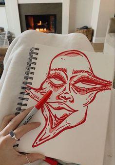 Cool Art Drawings, Art Drawings Sketches, Indie Drawings, Hippie Painting, Arte Sketchbook, Funky Art, Hippie Art, Psychedelic Art, Aesthetic Art