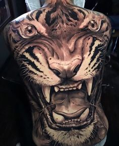 We knocked out  back in 12 hours total,the last 2 days. Thanks for traveling Alex and sitting like a beast. Girl Thigh Tattoos, Lion Head Tattoos, Hand Tattoos, Tatoos, Full Back Tattoos, Full Body Tattoo, G Tattoo, Tiger Tattoo, Bad Apple Tattoo