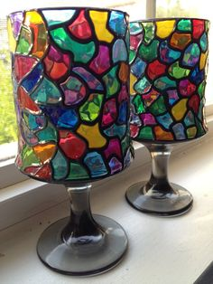 Mosaic like painted candle holders stained by SparkysGlassArt, $20.00