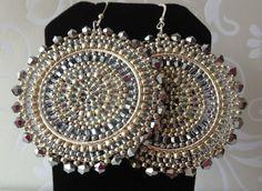 Silver Crystal Goddess Seed Bead Earrings - Big Bold Silver Disc Earrings