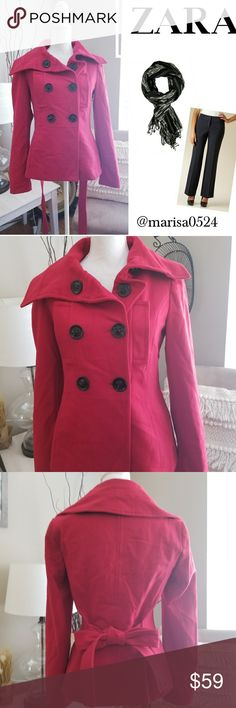 Zara Basic Pea Coat EUC Red Zara Basic Coat 60% Wool 40% Polyester  *Has a quarter size light stain on one of the sleeves Zara Jackets & Coats Pea Coats