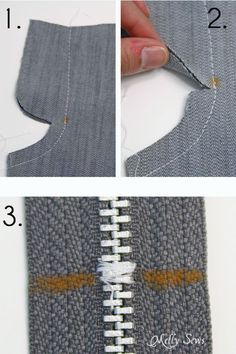 How to Sew a zipper fly - sew center seam and shorten zipper Diy Sewing Projects, Sewing Projects For Beginners, Sewing Tutorials, Sewing Patterns, Sewing Tips, Sewing Lessons, Sewing Class, Sewing Basics, Sewing Pants