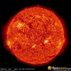 The hourly sun (at 11:45 am  UTC on 28 February 2013)