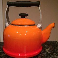 Le Creuset Tea Kettle 2.2 Quart Flame Orange - Cast Handles - Non Whistling