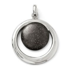 Two-tone sterling silver Radiant Essence pendant with a ruthenium-plated disc, with an added touch of sparkle, at the center of a rhodium-plated ring circle. Matching earrings available. Sterling Silver Necklaces, Silver Jewelry, Jewelry Gifts, Fine Jewelry, Birthstone Pendant, Pendant Design, Gifts For Women, Products, Type