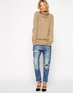 Cozy, turtleneck sweater + destroyed jeans I love but not digging the shoes :)