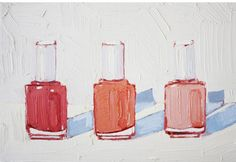 "Nicole Newsted, ""Essie, Coral No. 2,"" 2013, oil painting on stretched canvas, 6"" h x 9"" w x .75"" d"