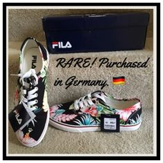 "HPNWT in original box floral Fila shoes  Same day shipping (excluding Sun/holidays or orders placed after P.O. Closed)  10% off of 2+ bundles  ❓Please ask any questions prior to buying. I want you to be % Happy❣  HP ""Best in Shoes"" 4/7 PRICE FIRM (unless bundled). These were €45=$49.88 plus $11 to ship from Germany. So comfy just too big for me. Fit women's US 9.5. 3rd photo shows bottom measurement. Measure the bottom of one of your best fitting flats to compare.  Fila Shoes Sneakers"