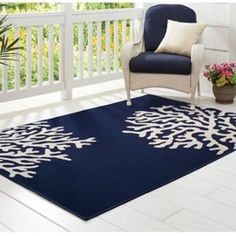 Outdoor Patio Rugs : Small Beautiful Dark Blue Outdoor Patio Rug With White Pattern. Patio Rugs, White Patterns, Dark Blue, Contemporary, Outdoor, Beautiful, Home Decor, Outdoors, Decoration Home
