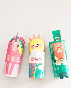 HAPPY CLOUD, UNICORN AND LEPRECHAUN PAPER TUBE CRAFT WITH FREE PRINTABLES