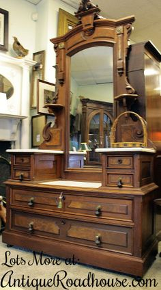 Eastlake Victorian Burled Walnut Dropwell Dresser w/ marble, brass and mirror..The Antique Roadhouse,  700 Washington St, Norwood Center, MA 02062,  781-769-1532  www.AntiqueRoadhouse.com