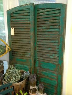 Antique Shutters, circa 1880, $195 /pair - original paint #fromthepottingshed #antique #homedecor Vintage Shutters, Old Shutters, Diy Room Divider, Circa, Dividers, Front Porch, Gates, Furniture Ideas, Decorating Ideas