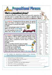 preposition worksheets | Prepositional Phrase Worksheet - Download ...