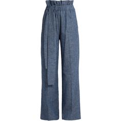 MSGM Chambray paperbag-waist wide-leg trousers ($260) ❤ liked on Polyvore featuring pants, denim, blue stripe pants, striped wide leg pants, stripe pants, chambray pants and chambray trousers