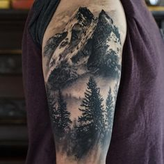 "374 Likes, 12 Comments - Olivier Desrochers (@olirockstattoo) on Instagram: ""#mountains #nature #pines #realistictattoo #blackandgrey #blackwork #inked #silverbackink…"""