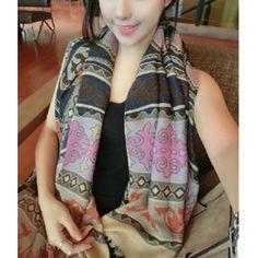 $13.66 Vintage Chic Totem Embellished Long Scarf For Winter For Women
