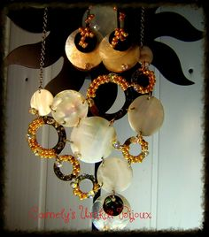 """Handmade Statement Set Jewelry – Trendy Summer Necklace and Earrings , made from MOTHER OF PEARLS, gold pearls Unique Handmade Jewelry Of Camely's Unikat Bijoux similar product at order, personalized, in 3- 7days ; Order Or More Products On <a href=""""https://www.etsy.com/your/shops/CamelysUnikatBijou"""" rel=""""nofollow"""">www.etsy.com/your/shops/CamelysUnikatBijou</a> and on <a href=""""https://www.facebook.com/unikat.bijou.handmade.Camely""""…"""
